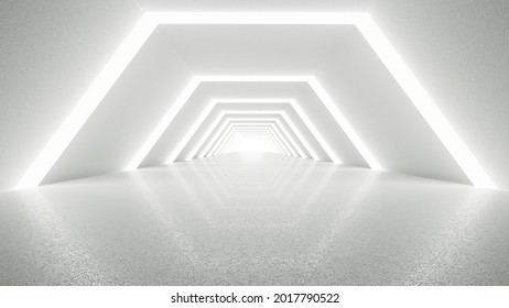 White futuristic tunnel leading to light. Modern style abstract 3d rendered background.