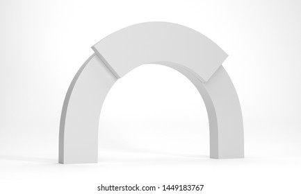 White Gate Backdrop. Blank Arc Element. White Semi Circle Geometric Shape. 3D render
