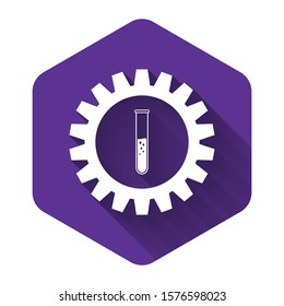 White Gear and test tube icon isolated with long shadow. Cogwheel and flask sign. Experiment laboratory glass chemical research symbol. Purple hexagon button