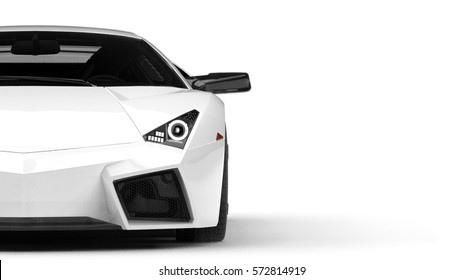 White generic luxury car headlights detail (with overlay) - 3d illustration
