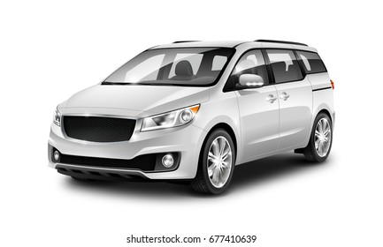 White Generic Minivan Car On White Background. MUV, MPV Or High Roof Family Automobile. Perspective view. 3d illustration With Isolated Path.