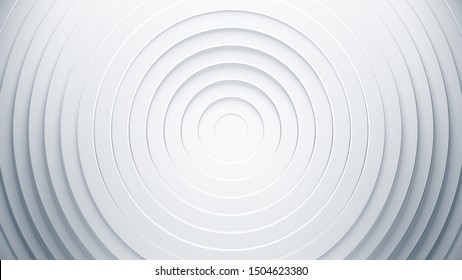 White geometric background concept. 3d circles illustration. Abstract creative texture for business template. Modern and simple radial pattern.