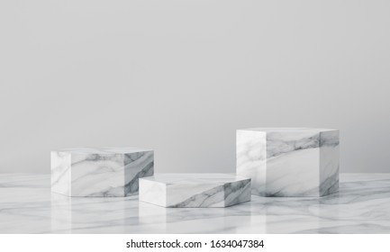White geometric marble podium with bright background. Product presentation. 3d rendering - illustration.
