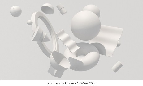 White geometric shapes, hard light. Abstract illustration, 3d render.