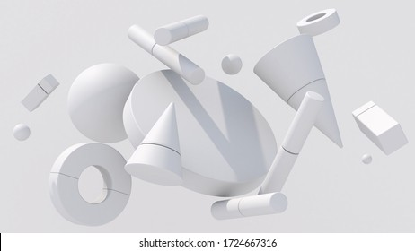 White geometric shapes. Monochrome composition. Abstract illustration, 3d render.