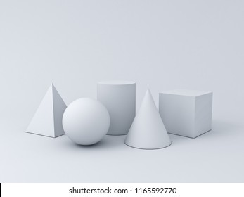 White Geometry 3D Graphic Shapes Cube Pyramid Cone Cylinder Sphere isolated on white background with shadows 3D rendering