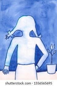 White Ghost female figure watercolor art