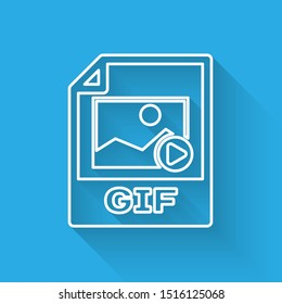 White GIF file document icon. Download gif button line icon isolated with long shadow. GIF file symbol