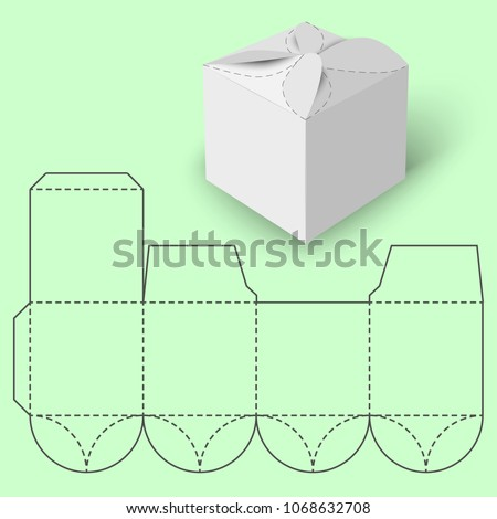 White gift 3 d box blueprint template stock illustration 1068632708 white gift 3d box with blueprint template rasterized version maxwellsz