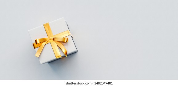 White gift box with golden bow on white paper background 3D Rendering, 3D Illustration