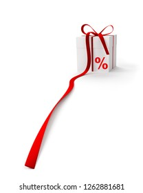 White gift box with percent sign with long red ribbon