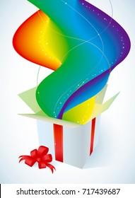 White gift box with rainbow
