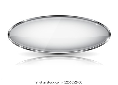 White glass 3d button with metal frame. Oval shape. With reflection on white background. Illustration. Raster version