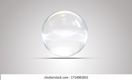 White glass ball. White sphere on a white background, 3d illustration