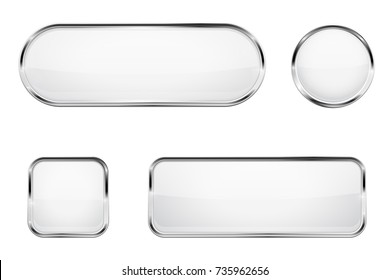 White glass buttons with chrome frame. 3d illustration isolated on white background. Raster version