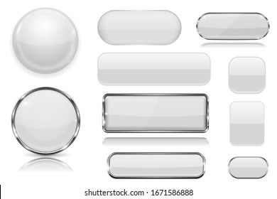 White glass buttons. Collection of 3d icons. Illustration isolated on white background. Raster version