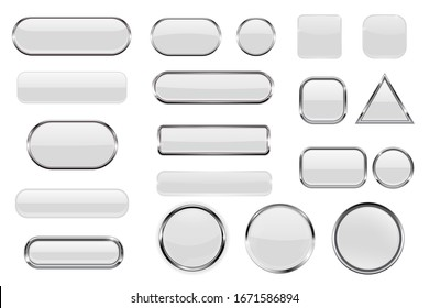 White glass buttons. Collection of 3d icons with and without chrome frame. Illustration isolated on white background. Raster version