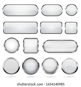 White glass buttons with metal frame. Collection of 3d icons. Illustration isolated on white background. Raster version