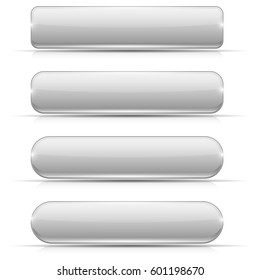 White glass buttons. Rectangle and oval web icons. 3d illustration isolated on white background. Raster version