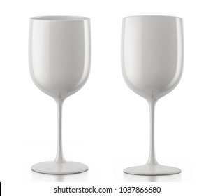 White glass of champagne moet &  chandon isolated on a white background. 3d render.