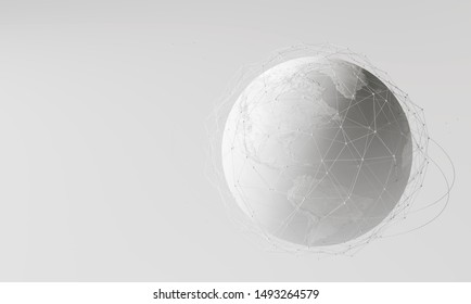 Réseau mondial blanc sur fond clair. Rendu 3d