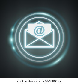 White and glowing blue email icon on dark background 3D rendering