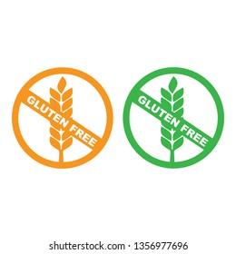 White gluten free sign. Gluten free label