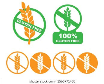 White gluten free sign. Gluten free label