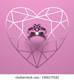 A white gold engagement ring with a heart-shaped diamond on a pink background. Romantic love and wedding mockup. 3D render.
