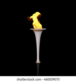 White and gold torch on black background. Sport flame. Torch fire. Torch flame. Olympic torch. Paralympic torch. 3D Render.