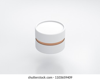 White with gold Tube Tin can Mockup, cylindrical Packaging, 3d rendering