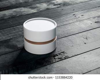 White with gold Tube Tin can Mockup, cylindrical Packaging on wooden table, 3d rendering