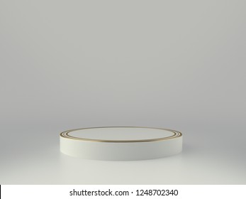White and Golden Product Stage. 3D Rendering