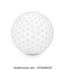A White Golf Ball on a white background 3d Rendering