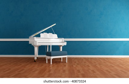 white grand piano in a blue room - rendering