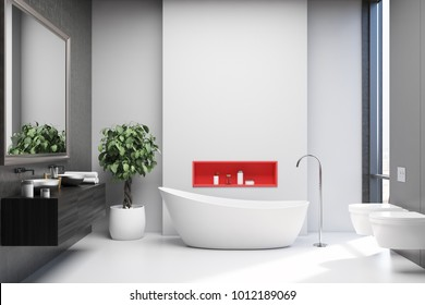 White and gray bathroom interior with a white floor, a white tub, a black double sink with a large mirror and two toilets. 3d rendering mock up