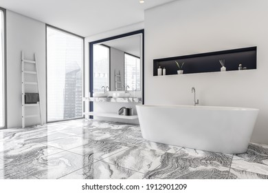 White gray bathroom interior with a marble floor, panoramic windows, white bathtub. Double sink. Skyscrapers City view. 3d rendering