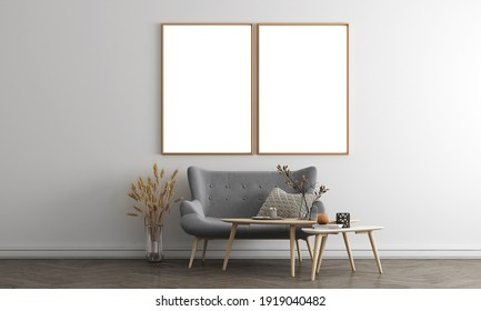 White gray and canvas frame and living room interior with tea table, decor. 3d render illustration mock up