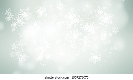 white and gray Christmas light with snowflake bokeh background, Winter backdrop wallpaper.
