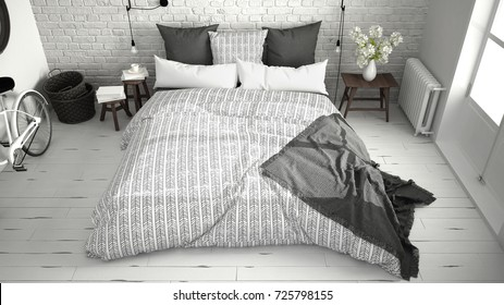 White and gray modern bedroom with cozy double bed, brick wall, wooden floor and big window, scandinavian minimalist architecture interior design, top view, 3d illustration