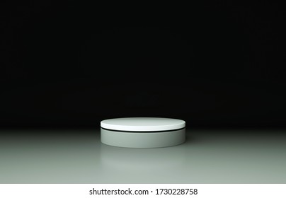 White and gray pedestal with black border isolated on gradient background. 3d render illustration