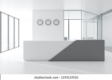 White and gray reception table with three clocks above it standing in white and glass panoramic office of marketing company. 3d rendering copy space
