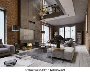 White and gray sofa and leather armchair with a magazine table and a large designer fireplace in a loft-style apartment with a living room and brick walls. 3d rendering