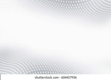 White gray wavy background. Blurred pattern dots. Abstract creative graphic.