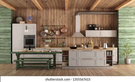 White and green retro kitchen with island,dining table and bench - 3d rendering