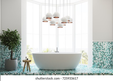White and green tiles bathroom interior with a large window, a white round tub, a tree in a pot and a white lamp. 3d rendering