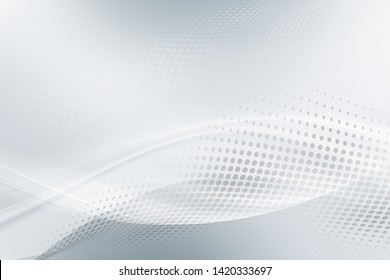 White and grey waves background. Abstract creative graphic for web. Modern business style with halftone effect.
