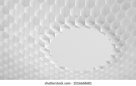 The white grid of cells in the form of hexagonal honeycombs with different diameter, which go from larger to smaller and in reverse. 3d illustration