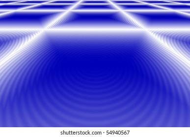 White Grid on Blue Background
