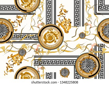 white ground, baroque pattern, geometric lines belt pearl tassel themed print pattern.